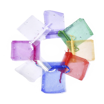Presents Packages Organza Bags, with Sequins and Ribbons, Rectangle, Mixed Color, 9x7cm