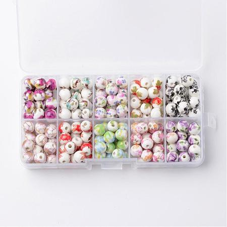 1 Box Ten Color Handmade Printed Porcelain BeadsPORC-X0003-01-1