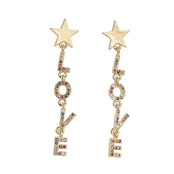 Brass Micro Pave Cubic Zirconia Dangle Stud Earrings, Star and Love, Golden, Colorful, 49mm; Pin: 0.7mm