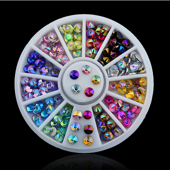 12 Colors Acrylic Spire Rhinestone, DIY Jewelry & Nail Art Decoration, Mixed Color, 6cm