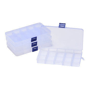 Plastic Bead Storage Containers, Adjustable Dividers Box, Removable 15 Compartments, Rectangle, Clear, 19x10.2x2.2cm
