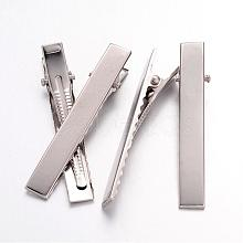 Platinum Plated Iron Flat Alligator Hair Clip Findings for DIY Hair Accessories Making X-IFIN-S286-57mm