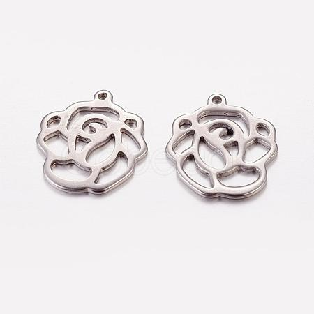 10Pcs Original Color Flower Rose Charms Stainless Steel Pendants X-STAS-G029-15-1