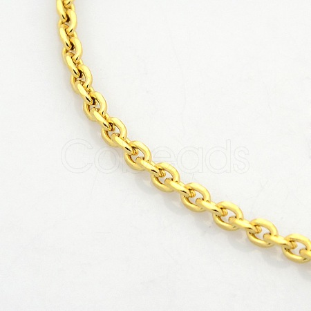 Men's 304 Stainless Steel Cable Chain Necklaces STAS-O037-12G-1