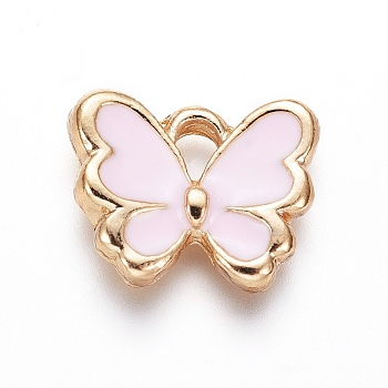 Light Gold Plated Alloy Charms, with Enamel, Butterfly, PearlPink, 10.5x12.5x2.5mm, Hole: 2mm