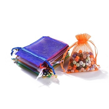 Rectangle Organza Gift Bags, Jewelry Packing Drawable Pouches, with Vacuum Packing, Mixed Color, 9x7cm