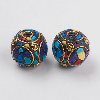 Handmade Indonesia Beads, with Brass Findings, Nickel Free, Unplated, Round, Blue, 22x24mm, Hole: 2.5mm