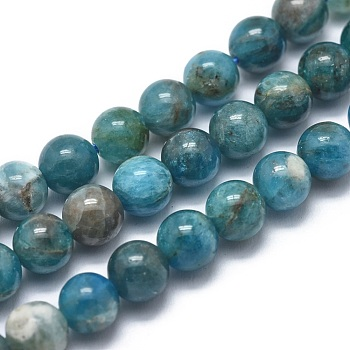 Natural Apatite Beads Strands, Grade AB, Round, 6mm, Hole: 1mm; about 68pcs/strand, 14.9inches(38cm)