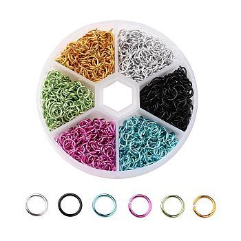 6 Colors Aluminum Wire Open Jump Rings, Mixed Color, 20 Gauge, 6x0.8mm; Inner Diameter: 4.4mm; about 180pcs/color, 1080pcs/box