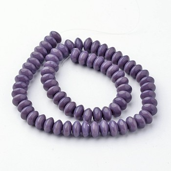 Glass Beads Strands, Rondelle, Dyed, Indigo, 8x4mm, Hole: 1mm; about 75pcs/strand, 13