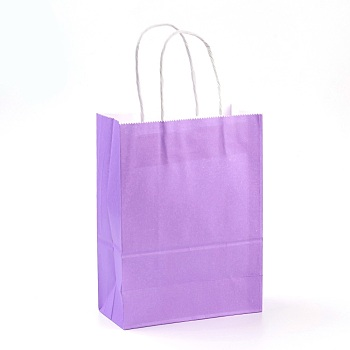 Pure Color Kraft Paper Bags, Gift Bags, Shopping Bags, with Paper Twine Handles, Rectangle, Medium Purple, 21x15x8cm