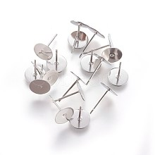 304 Stainless Steel Flat Round Blank Peg & Post Ear Studs Findings X-STAS-E025-3