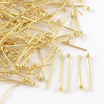 Brass Ball Head Pins, for DIY Beading Charm Making, Golden, 30x0.5mm, Head: 2mm