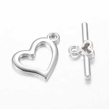 Metal Alloy Toggle Clasps, Heart, Platinum Color, Size: Heart: about 15mm wide, 19mm long; stick: 9mm wide, 22mm long.