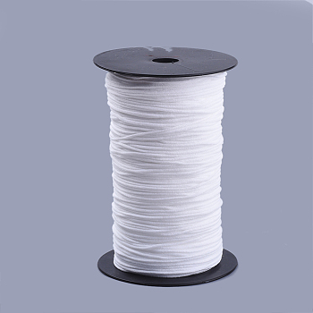 Round Nylon Elastic Band for Mouth Cover Ear Loop, Mouth Cover Elastic Cord, DIY Disposable Mouth Cover Material, with Spool, White, 2mm; about 385m/500g(421yards/500g)(1263feet/500g), 2rolls/500g