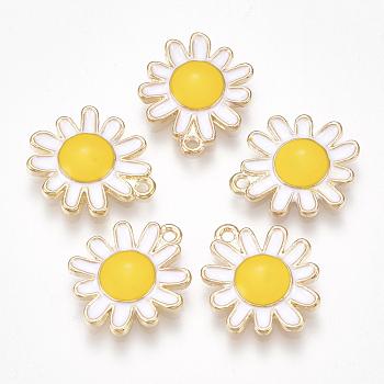 Alloy Pendants, with Enamel, Flower, Light Gold, White, 17x14x2.5mm, Hole: 1.2mm