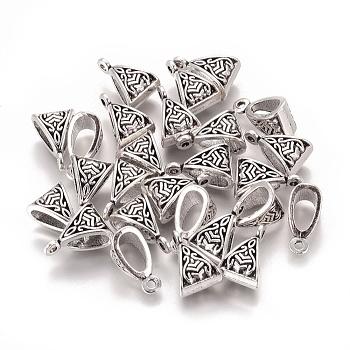 Tibetan Style Hangers, Bail Beads, Cadmium Free & Nickel Free & Lead Free, Antique Silver, 15x10x7mm, Hole: 2mm