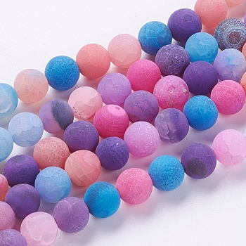 Natural Weathered Agate Beads Strands, Dyed, Frosted, Round, Mixed Color, 8mm, Hole: 1mm; about 46pcs/strand, 14