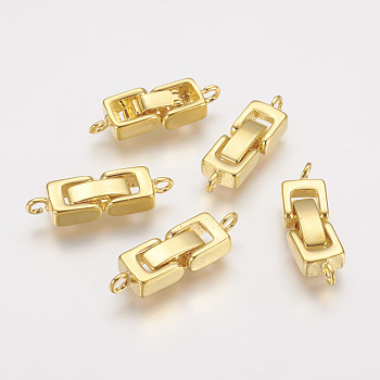 Brass Fold Over Clasps, 1-Hole, Cadmium Free & Lead Free, Golden, 24x7x4mm, Hole: 1mm