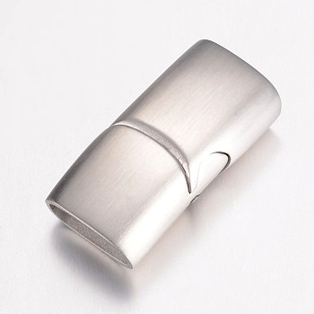 304 Stainless Steel Magnetic Clasps, Rectangle, Frosted, Stainless Steel Color, 24x12x7.5mm, Hole: 5x10mm