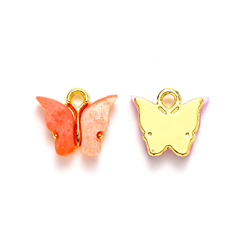 Alloy Pendants, with Resin and Glitter Powder, Cadmium Free & Lead Free, Butterfly, Golden, Tomato, 13x13~15x3.5mm, Hole: 2mm