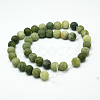 Round Frosted Natural TaiWan Jade Bead StrandsG-M248-12mm-02-3