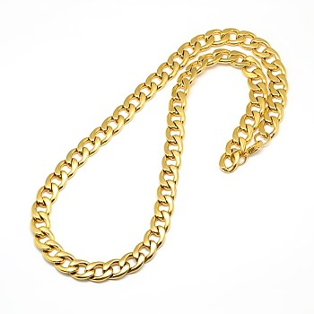 304 Stainless Steel Curb Chain/Twisted Chain Necklaces, with Lobster Claw Clasps, Golden, 23inches~25inches(58.4~63.5cm); 12mm