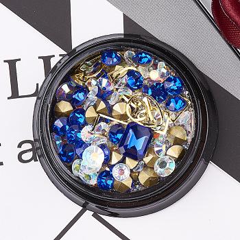 Glass Rhinestone & Brass Cabochons & Undrilled Micro Beads, Nail Art Decoration, Sapphire, 1~10x1~8mm
