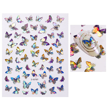 Nail Art Stickers Decals, Self-adhesive, For Nail Tips Decorations, 3D Design, Butterfly, Butterfly Pattern, 125x70mm