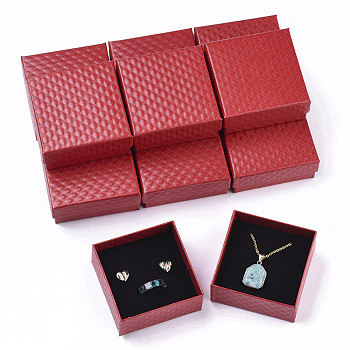 Cardboard Jewelry Boxes, for Pendant & Earring & Ring, with Sponge Inside, Square, Red, 7.5x7.5x3.5cm; Inner Size: 6.5x6.5cm; No Cover: 7cm long, 7cm wide, 3mm thick; Cover: 7.5cm long, 7.5cm wide, 2cm thick