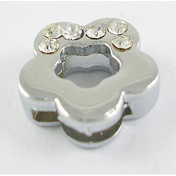 Alloy Rhinestone Flower Slide Charms Fit DIY Wristbands & Bracelets, Valentine Gift Beads, Nickel Free, about 12mm in diameter, hole: about 8x1.5mm