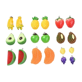 Resin Pendants, with Platinum Tone Iron Eye Pins, Lemon, Grape, Strawberry, Orange, Apple, Durian, Banana, Pineapple, Avocado, Watermelon, Mixed Color, 20~41x12~24x11~20mm, Hole: 2mm; 20pcs/set