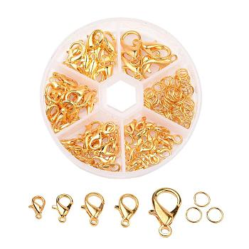 Alloy Lobster Claw Clasps and Jump Rings Set, Golden, Clasps: 10~20.5x6~13x3.5~5.5mm, Hole: 1~2mm; about 70pcs/box, Jump Rings: 6x1mm; about 40~50pcs/box