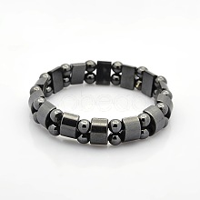 Magnetic Hematite Tow Row Rectangle and Round Beads Stretch Bracelets for Valentine's Day Gift BJEW-M066-11