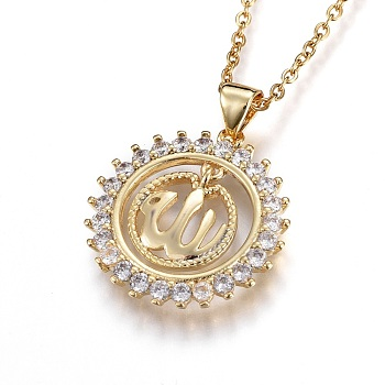 304 Stainless Steel Pendant Necklaces, with Cubic Zirconia, Flat Round with Allah, Clear, Golden, 17.2inches(44.1cm); Pendant: 21.5x20.5x2.5mm