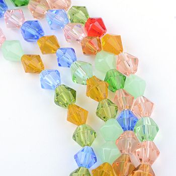 Glass Beads Strands, Faceted, Bicone, Mixed Color, 6mm, Hole: 1mm; about 52pcs/strand, 13