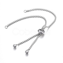Adjustable 304 Stainless Steel Bracelet Making X-STAS-F183-10P