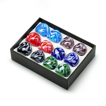 Handmade Lampwork Wide Band Finger Rings, Mixed Color, 16~19mm; about 12pcs/box