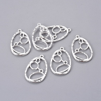 Alloy Pendants, Teardrop, Silver Color Plated, Lead Free & Cadmium Free & Nickel Free, about 34mm long, 21mm wide, 2mm thick, hole: 2mm