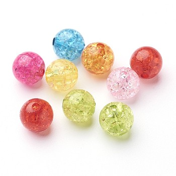 Transparent Crackle Acrylic Beads, Round, Mixed Color, 10mm, Hole: 2mm