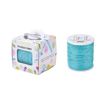 Waxed Cotton Cords, LightSkyBlue, 1mm; about 100yards/roll(91.44m/roll)
