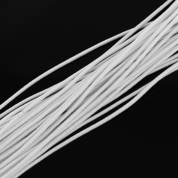 Round Elastic Cord, with Fibre Outside and Rubber Inside, for Bracelet String, DIY Face Cover Mouth Cover, White, 2.5mm; about 80m/bundle