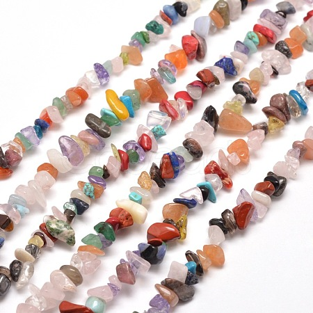 Natural & Synthetic Gemstone Chip Bead StrandsX-G-M205-21-1