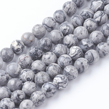 Natural Map Stone/Picasso Stone/Picasso Jasper Beads Strands, Round, 6mm, Hole: 1mm; about 60~65pcs/strand, 15 inches