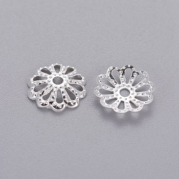 Silver Tone Filigree Flower Iron Bead Caps, End Caps for Jewelry Making, 9mm, Hole: 1.5mm; about 134pcs/10g