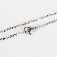 Classic Plain 304 Stainless Steel Mens Womens Cable Chain Necklace Making STAS-P045-01P-A