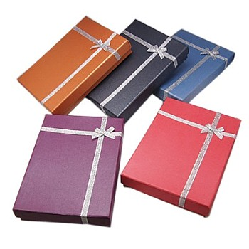 Cardboard Jewelry Set Boxes, for Necklaces, Rings and Earrings, with Bowknot, Rectangle, Mixed Color, 180x130x33mm
