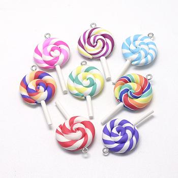 Handmade Polymer Clay Big Pendants, Lollipop, Mixed Color, 48~56x27~29x7~10mm, Hole: 2mm