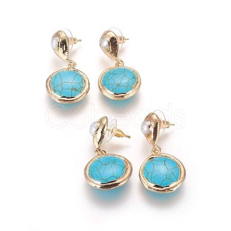 Brass Dangle Stud EarringsEJEW-E237-11G-1