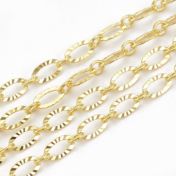 Brass Cross Textured Chains, Soldered, Real Gold Plated, 6.2x3.3x0.5mm